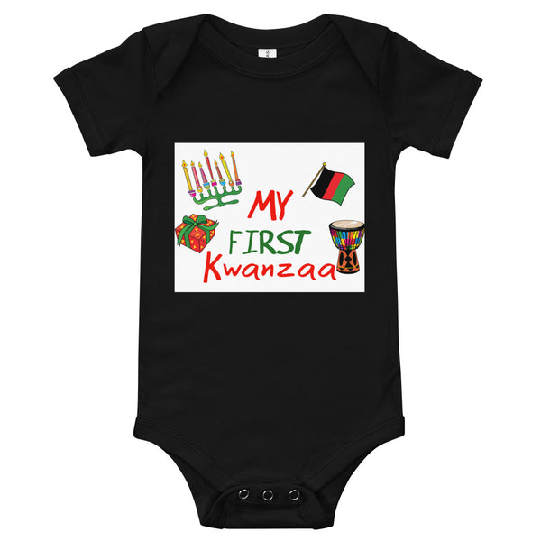 My First Kwanzaa! Baby Onesie (Wht Background)