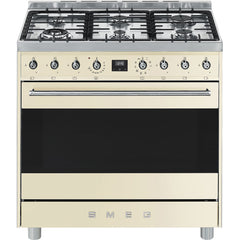Smeg  C9MAPSSA9 90cm Stainless Steel Symphony Cooker with 6 Burner Gas Hob and Multifunction and Double Thermoventilated Oven Energy Rating A+