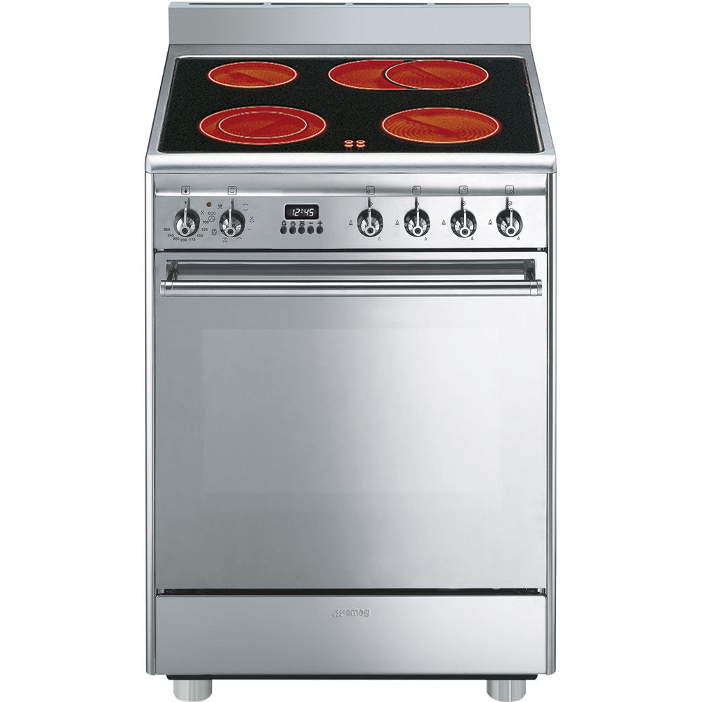 Smeg  CX68CM8 60cm Stainless Steel Concert Cooker with 4 Burner Ceramic Hob and Multifunction Thermoventilated oven Energy rating: A