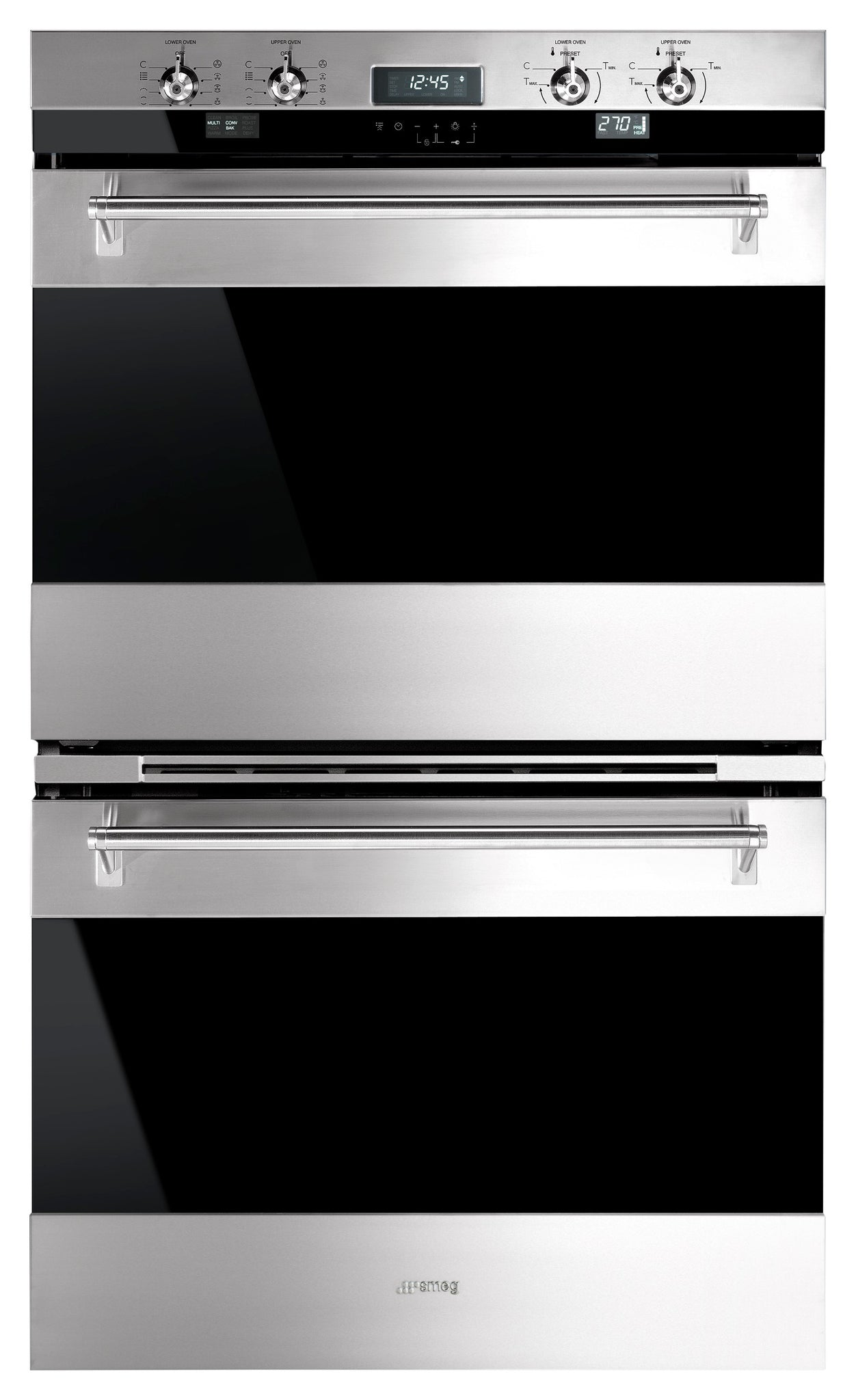Smeg  DOA330X1 76cm Stainless Steel and Black Eclipse Glass, Classic Pyrolitic Extra-Volume Double Electric Oven Energy Rating: A