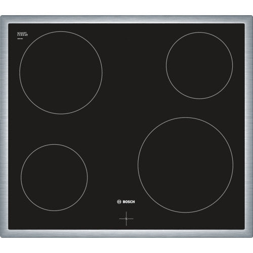 Bosch NKE645G17 60cm Ceramic Hob Black Glass / Stainless Steel Frame