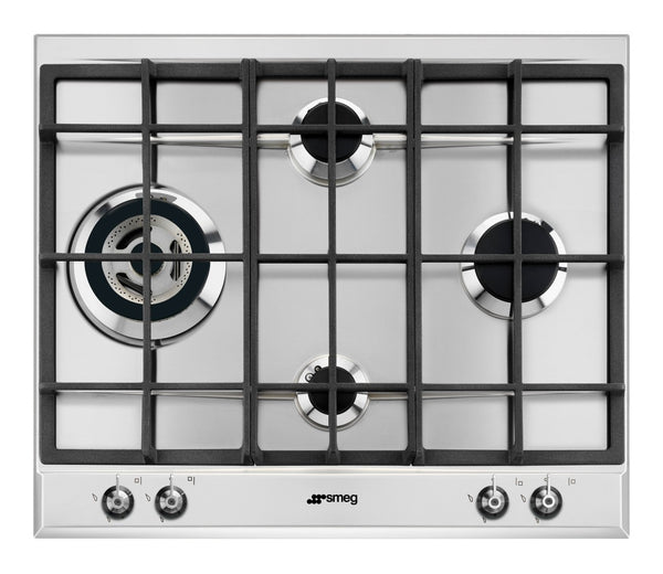 Smeg  P361XGHL 60cm Stainless Steel Classic 4 Burner Gas Hob