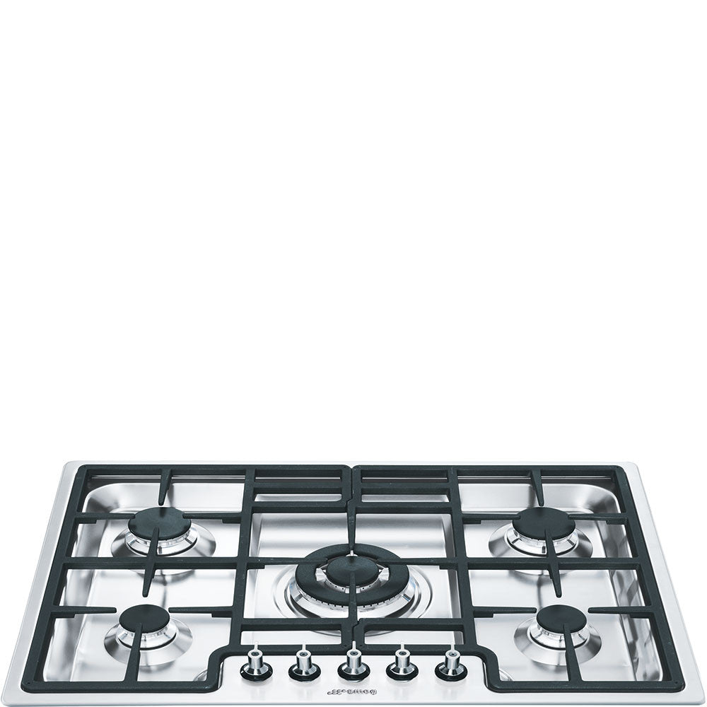 Smeg  PGF75-4 70cm Ultra-low Profile Stainless Steel Linea 5 Burner Gas Hob