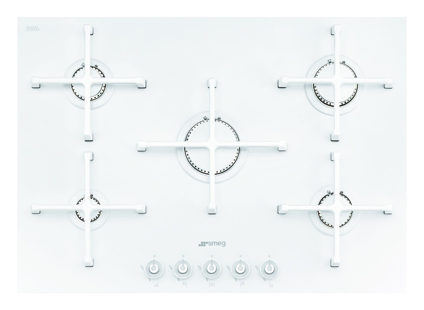 Smeg  PV175CB 72cm Ice White Ceramic 5 Burner Gas-on-Glass Hob
