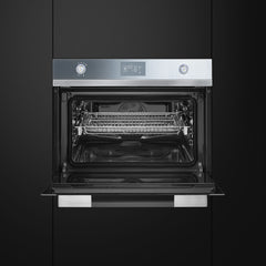 Smeg  SF4120VC 60cm x 45cm Silver Mirrored-Glass Linea Compact Combination Steam Oven