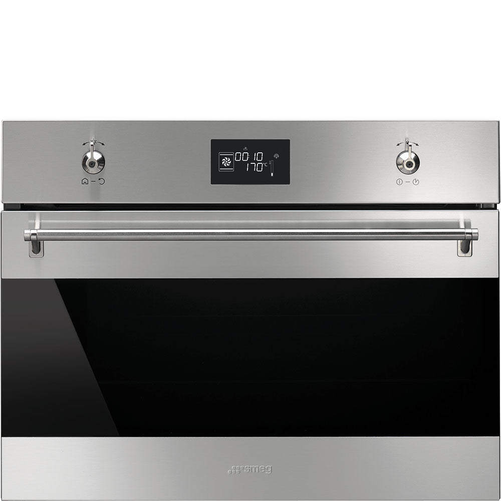 Smeg  SF4390VCX 60cm x 45cm Classic Stainless Steel and Black Eclipse Glass Compact Combi-Steam Oven