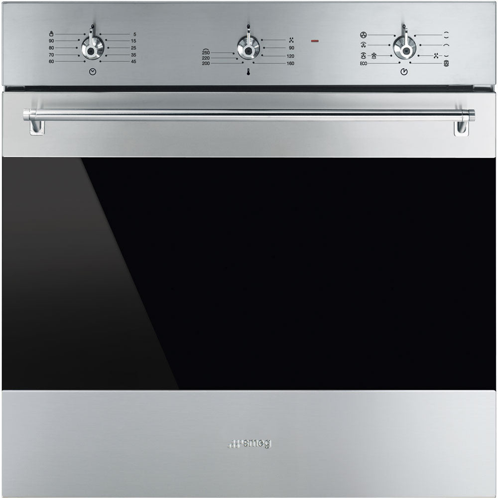 Smeg  SF6385XSA 60cm Classic Stainless Steel and Black Eclipse Glass Electric Oven Energy Rating: A