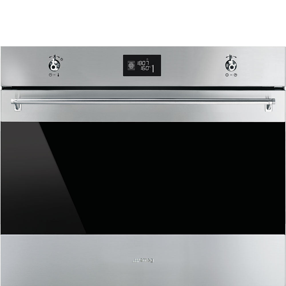 Smeg  SF7390X 70cm Classic Stainless Steel and Black Eclipse Glass Extra-volume Electric Oven Energy Rating: A