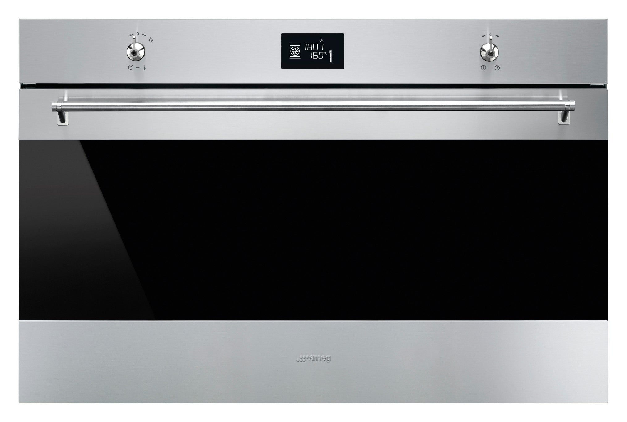Smeg  SF9390X1SA 90cm Classic Stainless Steel and Black Eclipse Glass Extra-Volume Electric Oven Energy Rating: A+
