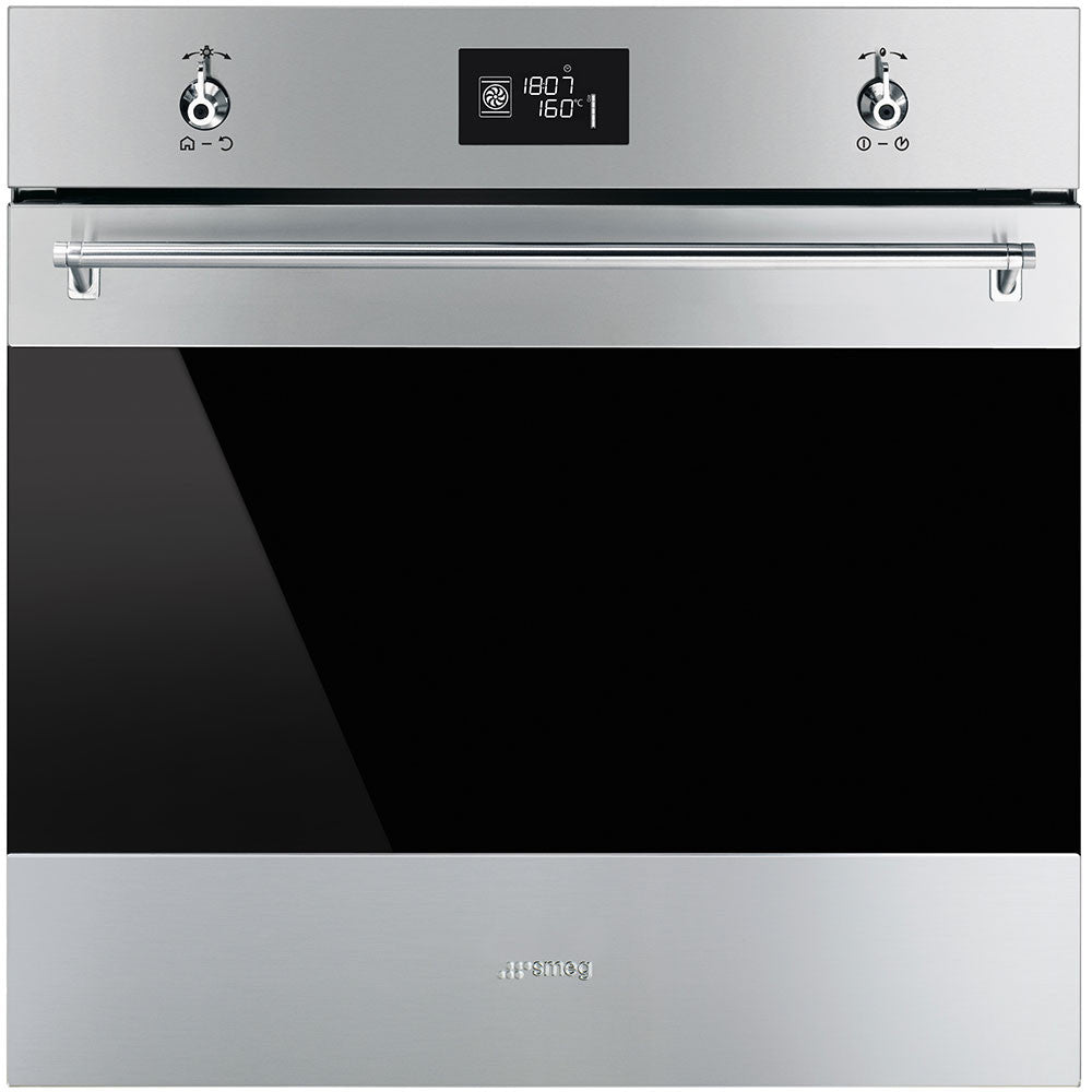 Smeg  SFP6390XE 60cm Classic Stainless Steel and Black Eclipse Glass Pyrolitic Electric Oven Energy Rating: A+