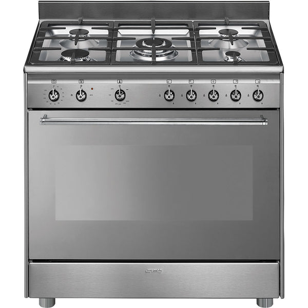 Smeg  SSA91GGX9 90cm Stainless Steel Concert Full Gas Cooker with 5 Burner Gas Hob