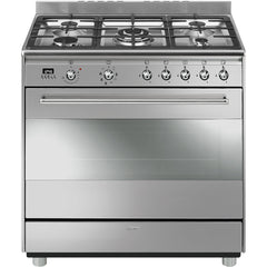 Smeg  SSA91MAX9 90cm Stainless Steel Concert Cooker with 5 Burner Gas Hob and Multifunction Thermoventilated oven Energy rating:A