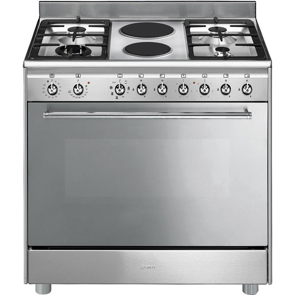 Smeg  SSA92MAX9 90cm Stainless Steel Concert Cooker with 6 Burner Gas/Electric Hob and Multifunction Thermoventilated Oven Energy rating: A