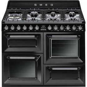 Smeg  TR4110BL1 110cm Glossy Black Victoria Traditional Range Cooker with 7 Burner Gas Hob Energy Rating: A+