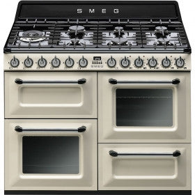 Smeg  TR4110P1 110cm Vintage Cream Victoria Traditional Range Cooker with 7 Burner Gas Hob Energy Rating: A+