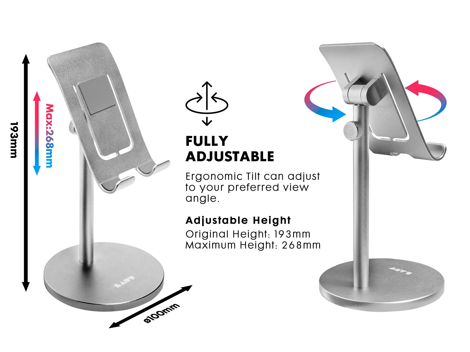 LAUT Free Stand Cell Phone Stand, Adjustable Phone Holder Stand for Desk, Universal Desktop Stand Tablet Stand