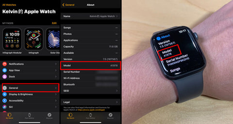 One photo shows what the Apple Watch App looks like, and the second photo shows an arm with an Apple Watch and the About section up. Both show where to find the model number for the Apple Watch