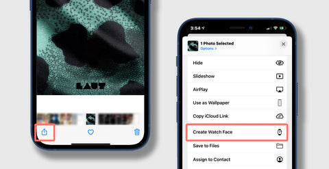 """Two Phones, One showing the bottom half where you select share on a photo in the bottom left of the screen, the other has the top half showing with the selection """"change apple watch face"""" highlighted in red"""