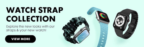 Watch Strap Collection: Explore new looks and styles with our watch strap collection, with a button saying view more. Three apple watches are present on the side with one being made of fabric, one silicon, and one leather