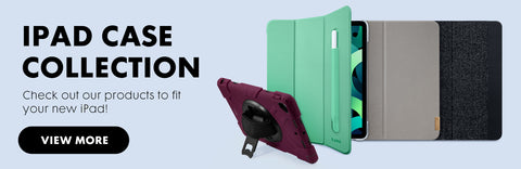 iPad case collection. Check out our products to fit your new iPad! with a button below that says view more. There are three iPads to the side that have different cases on them. One with a hard case and a kick stand, one with a soft case and one with a leather case.