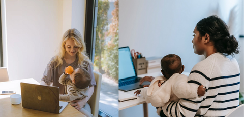 Two Women Working on Laptops while Holding Small Children
