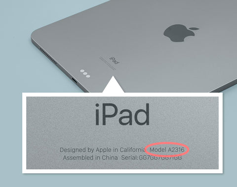 iPad on a blue background, with the back of the iPad magnified to show where it says the model number.