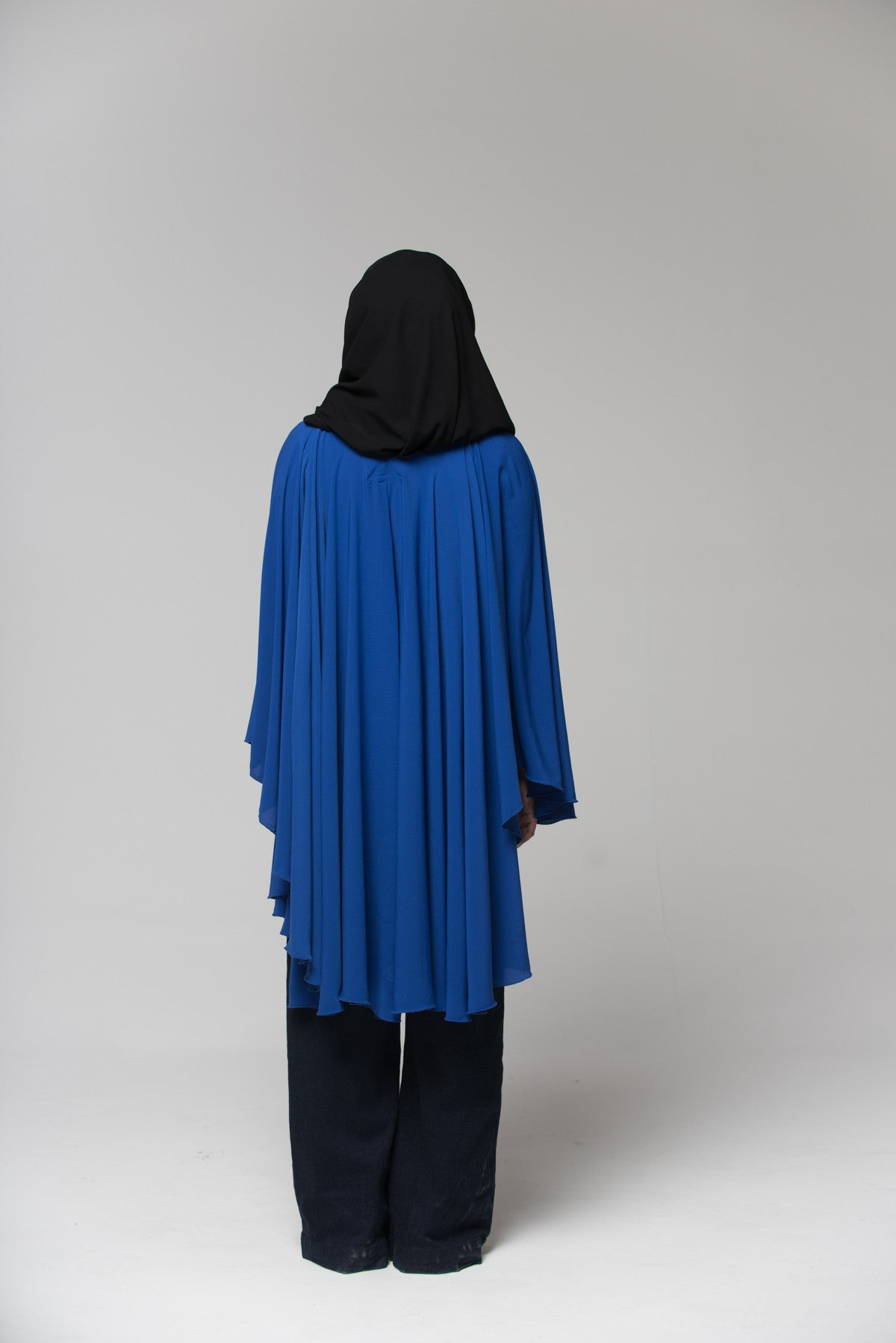 Blue Pleated Cape
