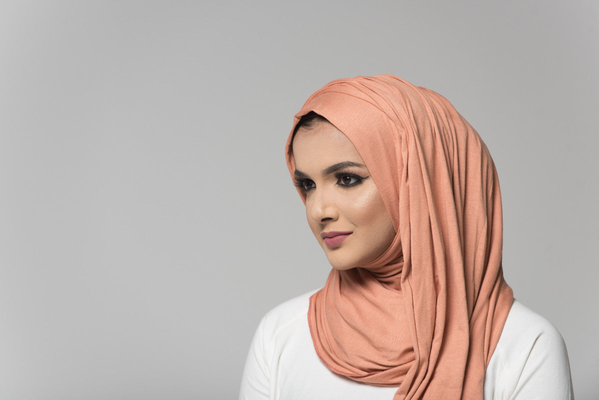 Peach Cotton Jersey Hijab