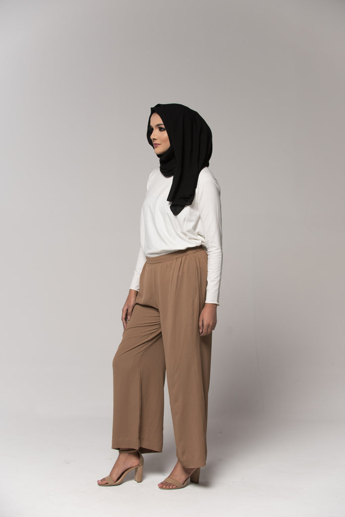Tan Pleated Culottes