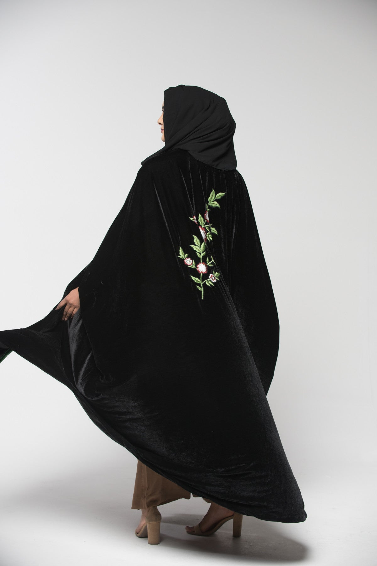 Black Velvet Embroidered Abaya