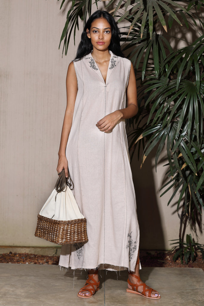 Embroidered - Linen sleeveless long dress-Immediate shipping -order now.