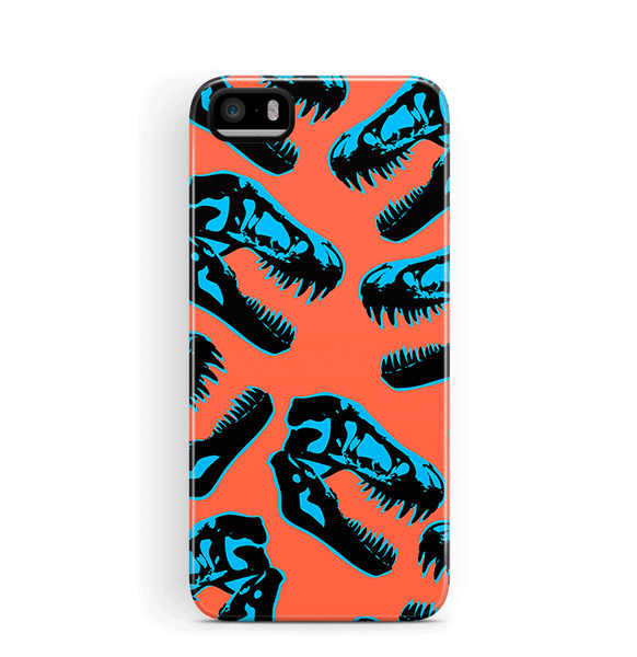 Dinosaur iPhone 5S SE Case Tough Orange Blue