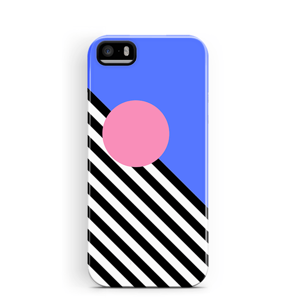 Memphis iPhone SE 5/5S Case Blue Pink Stripes