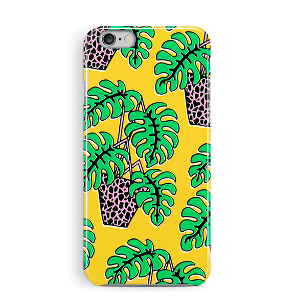 Pot Plant on Yellow iPhone and Samsung Case