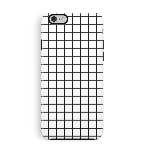 White Grid iPhone 6 6S Case Tough Graph