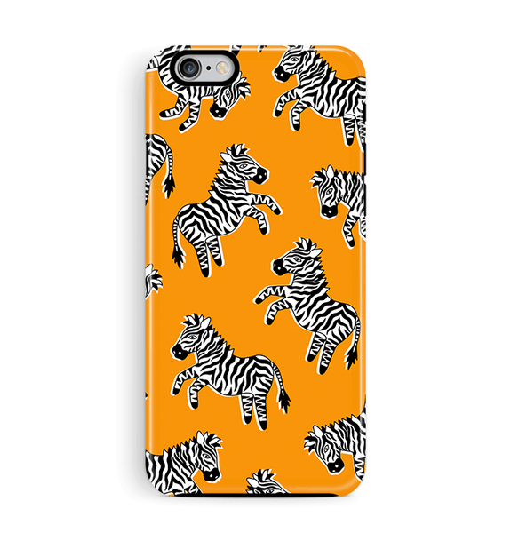 Zebra iPhone 6 6S Case Orange Tough