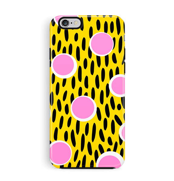 Tough iPhone 6 6S Case Pink & Yellow Memphis