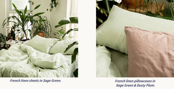 Buttery soft, cosy airwhiped green and plum linen sheets in Singapore