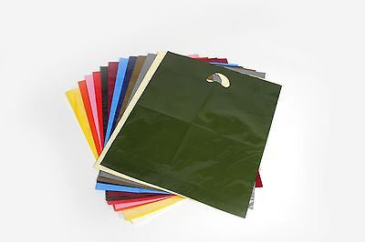 "Heavy duty plastic polythene carrier bags varigauge  10"" x 16"" + 4"" many colour"