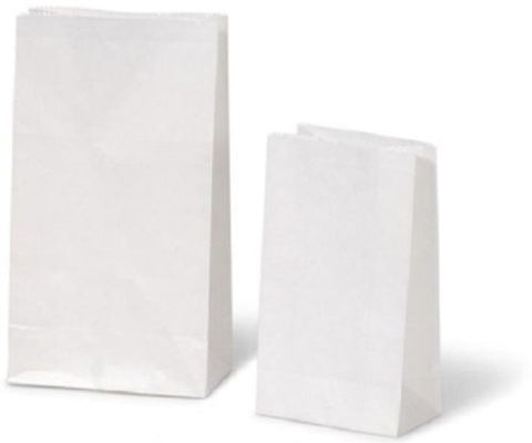 White Kraft Flat Block Bottom Paper Bag, Heavy Duty - Party Loot Lunch Deli Gift