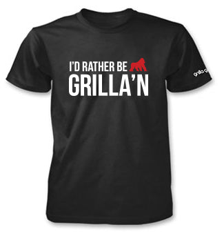 T-Shirt - I'd Rather Be Grilla'n, Black