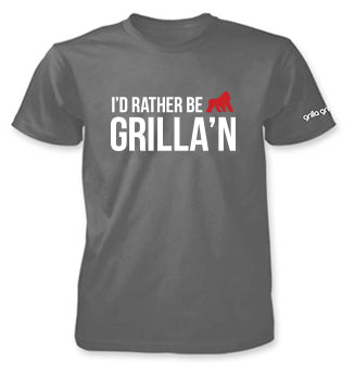 T-Shirt - I'd Rather Be Grilla'n, Grey