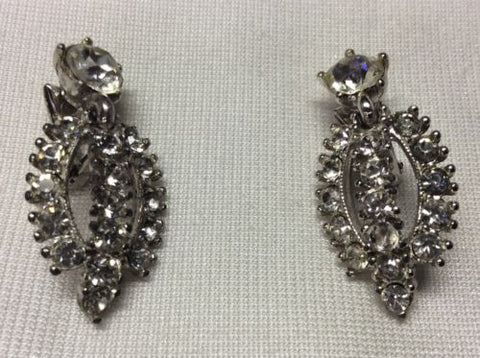 True Vintage BOGOFF Signed Clip On Earrings - Silver / Rhinestone