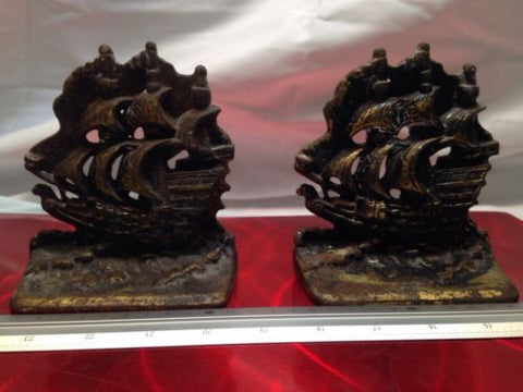 Cast Iron Clipper Ship Bookends Pirate Ship Boat Book Ends - Odd MoFo