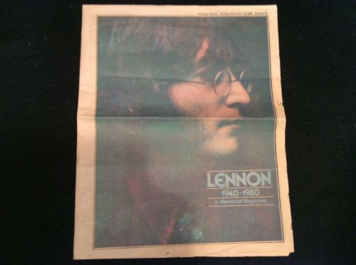 1980 John Lennon Memorial - Chicago Tribune Newspaper - Memorial Magazine Issue Beatles - Odd MoFo