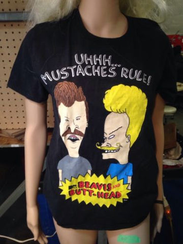 ORIGINAL VERY RARE vintage Beavis And Butthead Mustache Shirt Mtv Size Small - Odd MoFo