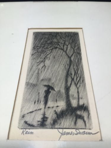 Vintage James Swann - Rain - Signed Etching Art Artist