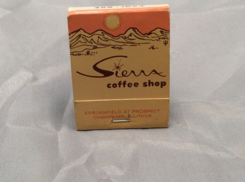Original Vintage - Rare 60s Sierra Coffee Shop Matchbook - Champaign Illinois - Odd MoFo