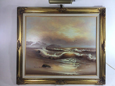 David Brusel vintage seascape oil painting large gold frame w/ lamp - Odd MoFo