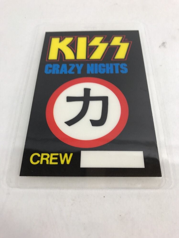 KISS LAMINATED 'CRAZY NIGHTS'  1987-88 BACKSTAGE TOUR CREW PASS - Odd MoFo